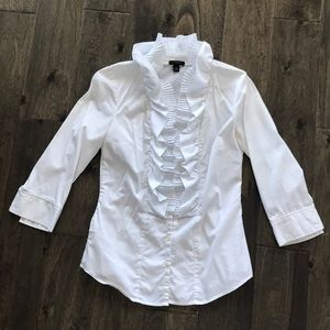 Ann Taylor Pleat and Ruffle Front Blouse - 0